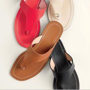 NWT J.Crew Black Slide Leather Sandals